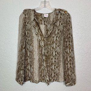Parker Silk snake python blouse size M? Brown